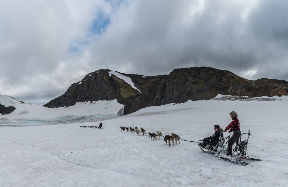 punchbowl glacier and dog sledding